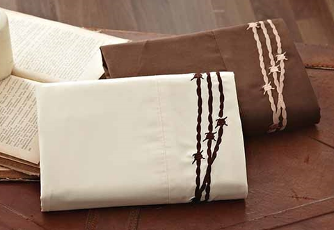 (DKSSBW24Q) Barbwire Western Embroidered Sheet Set Queen