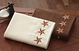 "(DKSSTS24T) ""Texas Stars"" Western Embroidered Sheets Twin"