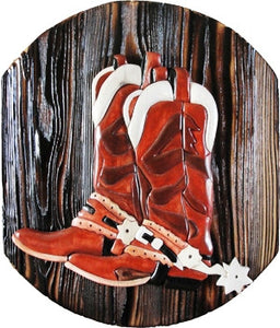 "(DLWS240) ""Boots"" Western Carved Wood Art"