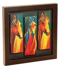 "(DM-B5210014) ""Three Horses"" Western Shadow Box Art"