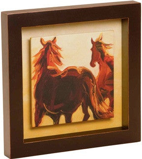 "(DM-B5210015) ""Running Horses"" Shadow Box Art"