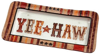 "(DM-B5210027) ""Yee Haw"" Western Hand-Painted Glass Platter"