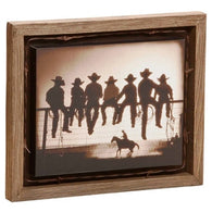 "(DM-B5210045) ""The Lesson"" Western Barnwood Shadow Box Art"