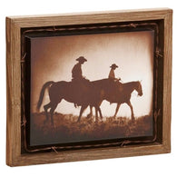 "(DM-B5210046) ""The Journey"" Western Barnwood Shadow Box Art"