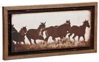 "(DM-B5210049) ""Sunset Run"" Western Barnwood Shadow Box Art"