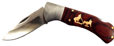 "(DRUSTRACK4-TR) ""Team Roper"" Rosewood Pocket Knife"