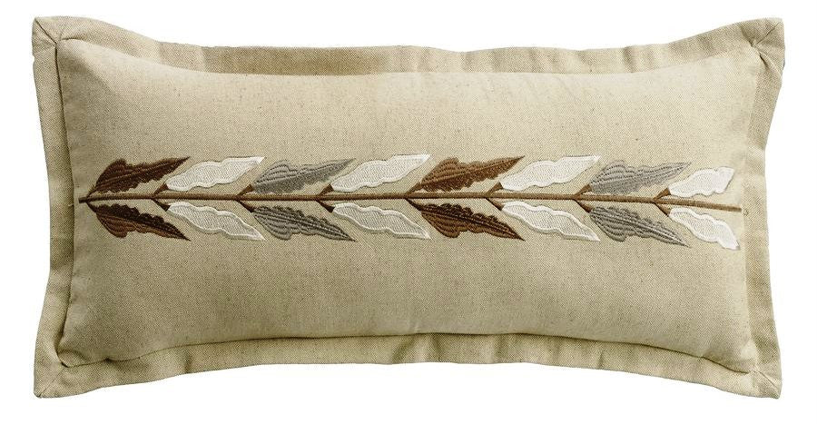 Embroidered Leaf Linen Pillow