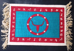 "(EPHIMAT157) ""Longhorn Turquoise & Red"" Western Placemat"