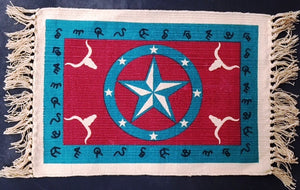 "(EPHIMAT158) ""Star Turquoise & Red"" Western Placemat"