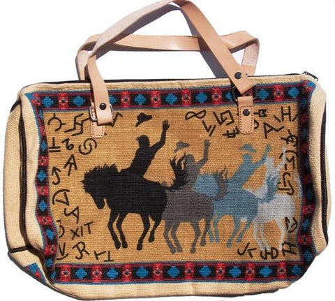 "(EPHIP135L) ""Bucking Horse"" Western Cotton Purse with Leather Straps"
