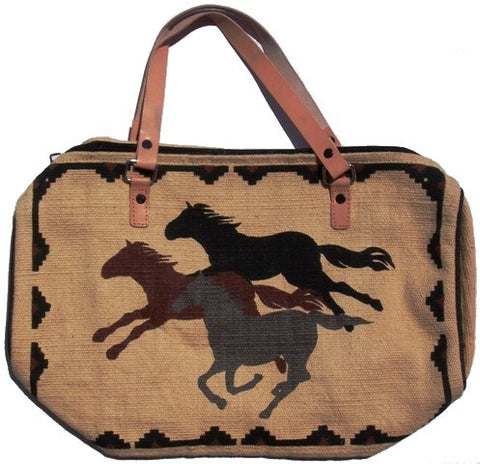 "(EPHIP22L) ""Horses"" Western Cotton Purse with Leather Straps"