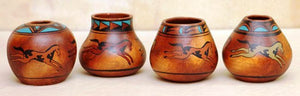 (EPPGA212)  Medium Native Style Pots in Horse Design - 4 Pack