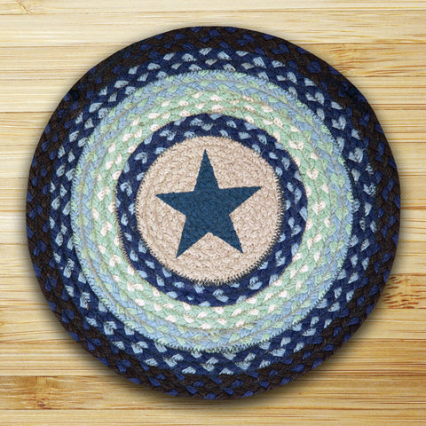 "(ER49-CH312BS) ""Blue Stars"" Hand Printed Placemat/Chair Pad 15-1/2"""