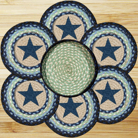 (ER56-312BS) Blue Star Trivets and Basket - Set of 6