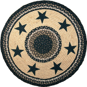 "(ERRP-313) ""Black Stars"" Round Patch Rug"