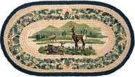 (ER740) Whitetail Deer Oval Hand Printed Rug