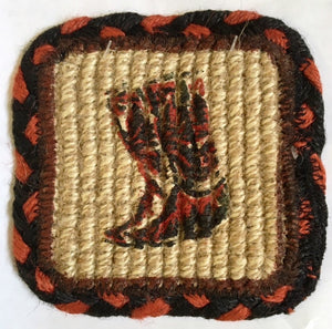 "(ER83-019B) ""Boots"" Wicker Weave Jute Coaster"