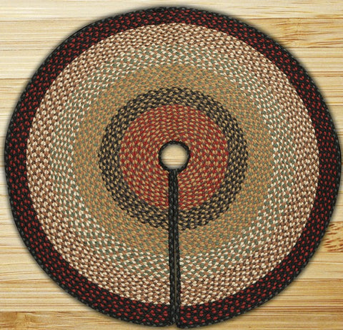 "(ER97-A019) Burgundy and Mustard Braided Tree Skirt - 20"" Round"