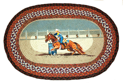 "(EROP-429) ""Seconds to Finish"" Western Hand Printed Barrel Racer Oval Jute Rug"