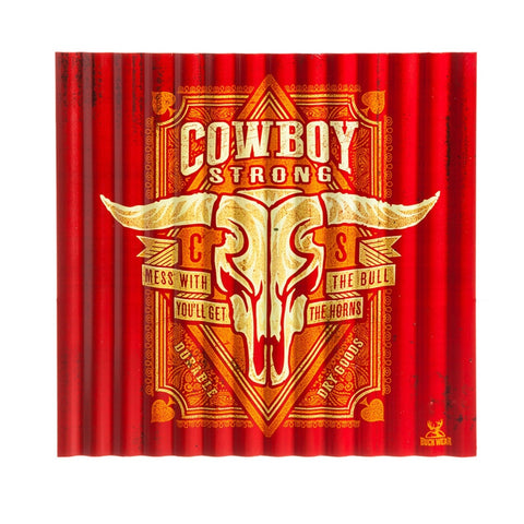 "(EV6M5561C) ""Cowboy Strong"" Corrugated Metal Sign with Longhorn Skull"