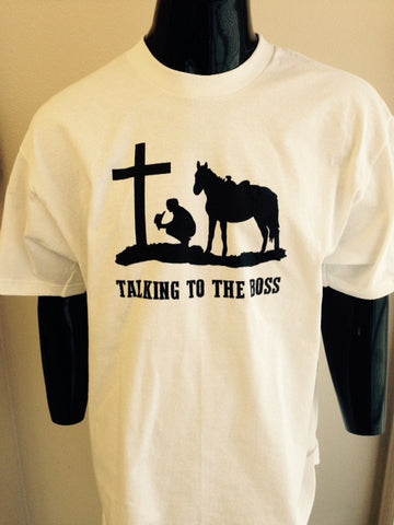 "(EXC-TTTB) ""Talking to the Boss"" Western Praying Cowboy T-Shirt"