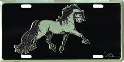 """Fresian"" Horse License Plate"