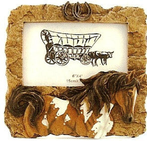 "(FW2733) Western Horse Motif Picture Frame 7-1/2"" Long"