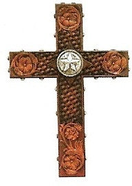 "(FW3226) 12"" High Western Floral Embossed Look Cross with Star"