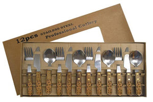 "(MBHW4010) ""Brands"" 12-Piece Western Wood Handled Flatware Set"