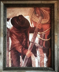 """Gate"" Western Canvas Print with Reclaimed Barn Wood Frame"
