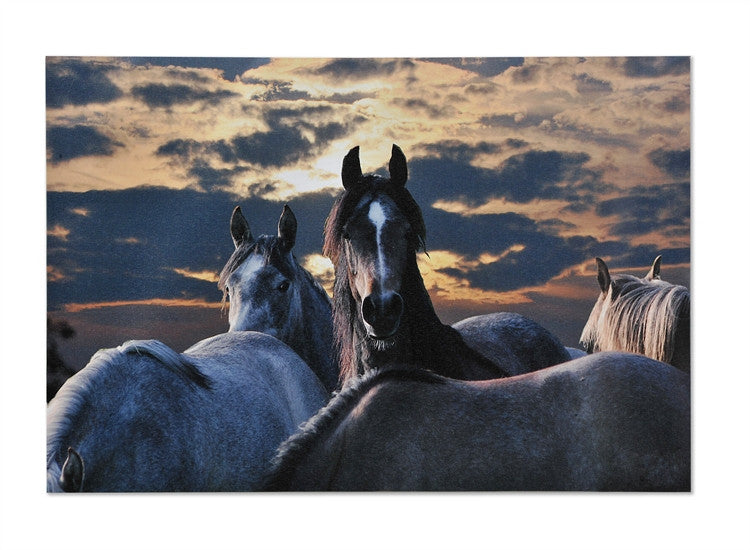 Horses at Sunset Western Canvas Wall Art