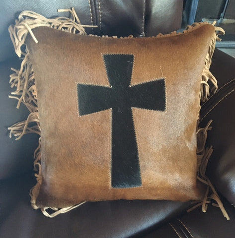 (GLP-CRSPLFR) Western Cowhide Accent Pillow with Cross & Fringe