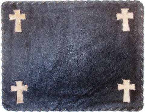 (GLP-RCTCRSPMDK) Cross Rectangular Cowhide Placemat Dark