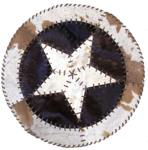 Round Western Star Cowhide Rug Light Laced Stitching 34