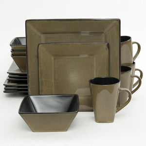 (GO107277-16) Western Square 16-Piece Dinnerware Set - Taupe & Black