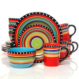 "(GO91267-16) ""Pueblo Springs"" Western 16-Piece Dinnerware Set"