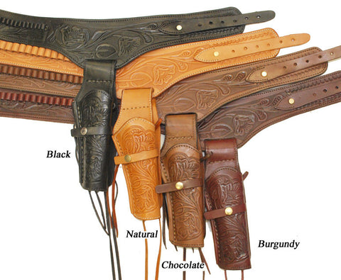 Hand Tooled Leather Gun Belt with Single Holster - .45 Caliber