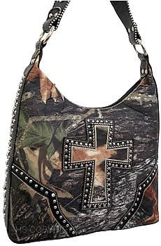 (HSHHF119HBLK) Cross with Camouflage Print Shoulder Bag-Black