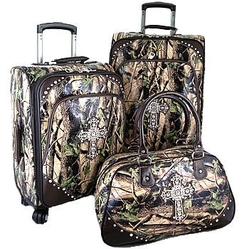 (HSHHFL001HCM) Western Camo Cross 3-Piece Wheeled Luggage Set by Montana West