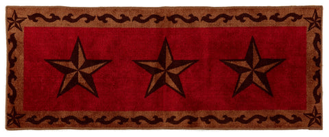 "(HXBW2010RD-2460) ""Western Star Red"" Bath/Kitchen Runner Rug - 24"" x 60"""