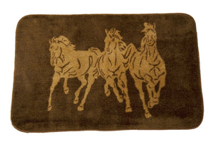 "(HXBW3003) ""3 Horses"" Western Bath/Kitchen Rug"