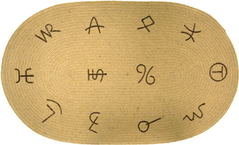 "(HXBW3186) Western Jute ""Brands"" Oval Bath/Kitchen Rug"
