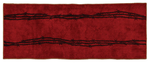 "(HXBW3190RD-2460) ""Western Barbwire Red"" Bath/Kitchen Runner Rug - 24"" x 60"""