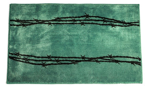 (HXBW3190TQ-2x3) Turquoise Barbwire Bath/Kitchen Rug - 2 x 3