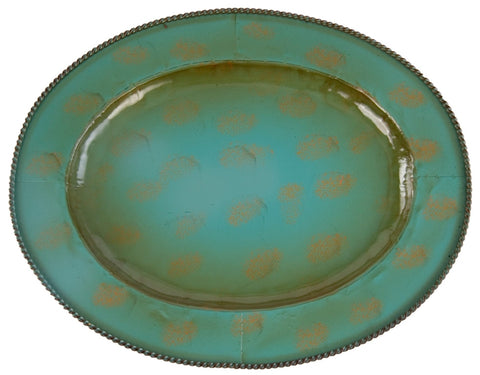 (HXCG4002) 4-Pc. Western Iron Platter/Tray Turquoise (3 Sizes Available)
