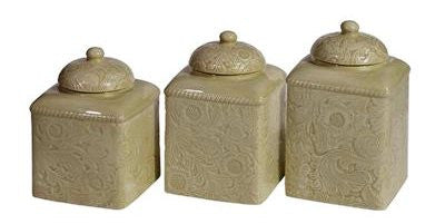 (HXDI4001CS01TP) Savannah Tooled Taupe 3-Pc Canister Set