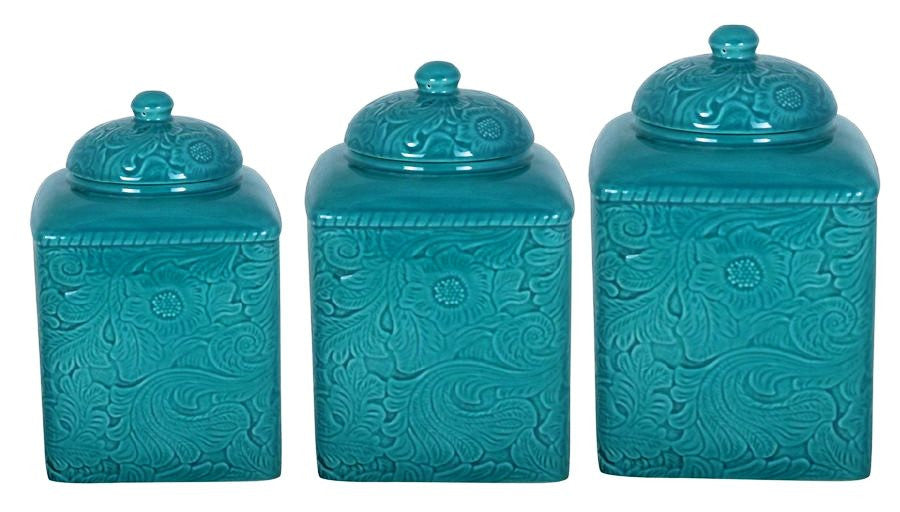 (HXDI4001CS01TQ) Savannah Tooled Turquoise 3-Pc Canister Set