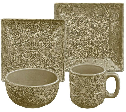 "(HXDI4001TP) ""Savannah Taupe"" Western Dinnerware Set - 16 pc."