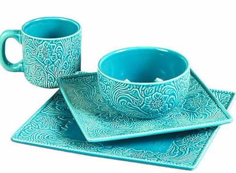 (RWSA9130) \ Savannah Turquoise\  Dinnerware Set ...  sc 1 st  Wild West Living & Savannah Turquoise\