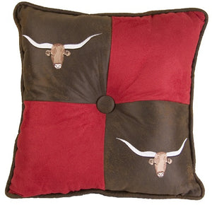 (HXLG1809P9) Embroidered Western Red & Brown Longhorns  Accent Pillow